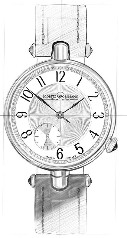 Strichzeichnung von der Classic Uhr aus der Tefnut
